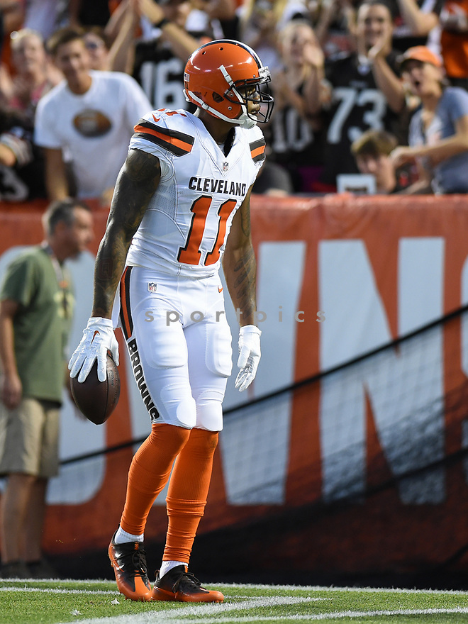 CLEVELAND, OH - AUGUST 18, 2016: Wide receiver Terrelle Pryor #11 of the Cleveland Browns stands in the endzone after scoring a touchdown in the first quarter of a preseason game on August 18, 2016 against the Atlanta Falcons at FirstEnergy Stadium in Cleveland, Ohio. Atlanta won 24-13. (Photo by: 2016 Nick Cammett/Diamond Images) *** Local Caption *** Terrelle Pryor