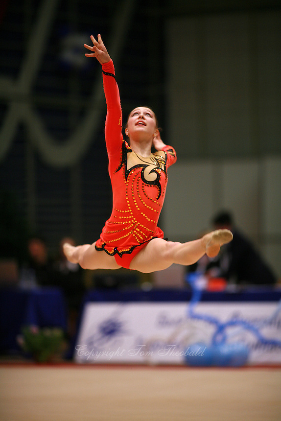 Silviya Miteva of Bulgaria split leaps to re-catch with rope at Burgas Grand Prix Rhythmic Gymnastics on May 6, 2006.   (Photo by Tom Theobald)
