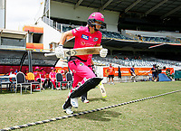 3rd November 2019; Western Australia Cricket Association Ground, Perth, Western Australia, Australia; Womens Big Bash League Cricket, Sydney Sixers verus Melbourne Stars; Ellis Perry of the Sydney Sixers runs out to open the innings for the Sixers - Editorial Use
