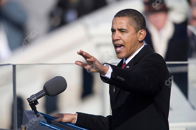 President Barack Obama delivers his inaugural speech at The Capitol Building. Washington, DC, January 20, 2009.