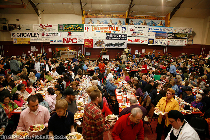 A sell-out crowd of 800 people line the recreation hall at the Nome awards banquet.