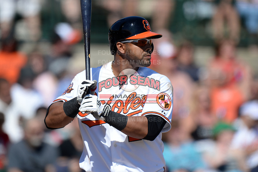 Baltimore Orioles outfielder Nelson Cruz (23) during a spring training game against the Boston Red Sox on March 8, 2014 at Ed Smith Stadium in Sarasota, Florida.  Baltimore defeated Boston 7-3.  (Mike Janes/Four Seam Images)
