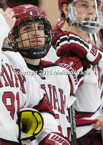 Thomas Aiken (Harvard - 38) - The Harvard University Crimson defeated the visiting Princeton University Tigers 5-0 on Harvard's senior night on Saturday, February 28, 2015, at Bright-Landry Hockey Center in Boston, Massachusetts.