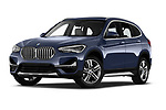 Stock pictures of low aggressive front three quarter view of 2020 BMW X1 X-Line 5 Door SUV Low Aggressive