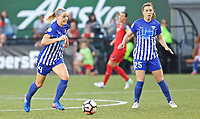 Portland, OR - Saturday May 27, 2017: Megan Oyster, Morgan Andrews during a regular season National Women's Soccer League (NWSL) match between the Portland Thorns FC and the Boston Breakers at Providence Park.