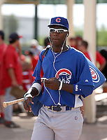 Junior Lake of the Chicago Cubs leaves the park after playing in a minor league spring training game against the Los Angeles Angels at the Angels complex on April 2, 2011  in Tempe, Arizona. .Photo by:  Bill Mitchell/Four Seam Images.