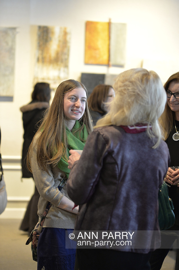 "Roslyn, New York, USA. January 31, 2015. Artists Reception for ""The Alchemists"" Karine Falleni, Thea Lanzisero, Barbara Miller, Constrance Wain, and Ellen Hallie Schiff, at Bryant Library. Curated by Schiff."