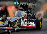 Sept. 28, 2012; Madison, IL, USA: NHRA top fuel dragster driver Steve Torrence during qualifying for the Midwest Nationals at Gateway Motorsports Park. Mandatory Credit: Mark J. Rebilas-