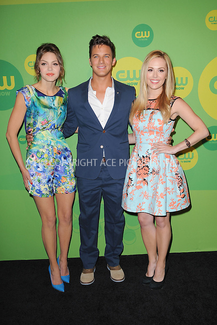 WWW.ACEPIXS.COM . . . . . .May 16, 2013...New York City....Aimee Teegarden, Matt Lanter and Natalie Hall attending The CW Network's New York 2013 Upfront Presentation at The London Hotel on May 16, 2013 in New York City ....Please byline: KRISTIN CALLAHAN - ACEPIXS.COM.. . . . . . ..Ace Pictures, Inc: ..tel: (212) 243 8787 or (646) 769 0430..e-mail: info@acepixs.com..web: http://www.acepixs.com .