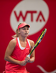Lara Arruabarrena of Spain vs Daria Gavrilova of Russia during the WTA Prudential Hong Kong Tennis Open at the Victoria Pack Stadium on 14 October 2015 in Hong Kong, China. Photo by Aitor Alcalde / Power Sport Images