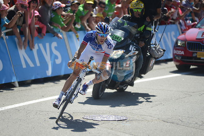 Thibaut PINOT (FRA) FDJ on his way to winning Stage 20 of the 2015 Tour de France running 110.5km from Modane Valfrejus to Alpe d'Huez, France. 25th July 2015.<br /> Photo: ASO/X.Bourgois/Newsfile