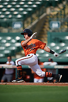 Baltimore Orioles second baseman Rylan Bannon (77) grounds out during a Florida Instructional League game against the Pittsburgh Pirates on September 22, 2018 at Ed Smith Stadium in Sarasota, Florida.  (Mike Janes/Four Seam Images)