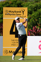 Jake Higginbottom (AUS) on the 4th tee during Round 3 of the Maybank Malaysian Open at the Kuala Lumpur Golf & Country Club on Saturday 7th February 2015.<br /> Picture:  Thos Caffrey / www.golffile.ie