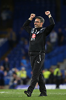 Huddersfield Town Manager, David Wagner, celebrates at the end of the match during Chelsea vs Huddersfield Town, Premier League Football at Stamford Bridge on 9th May 2018