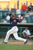 Teoscar Hernandez #15 of the Lancaster JetHawks bats against the Stockton Ports at The Hanger on June 24, 2014 in Lancaster, California. Stockton defeated Lancaster, 6-4. (Larry Goren/Four Seam Images)