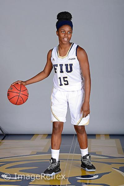 14 October 2015:  FIU guard Kristian Hudson (15) poses during picture day at FIU Arena in Miami, Florida.