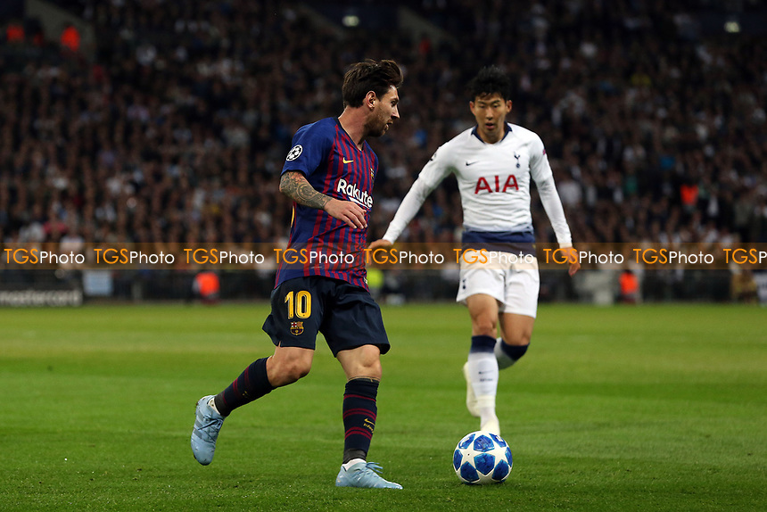Lionel Messi of FC Barcelona and Son Heung-Min of Tottenham Hotspur during Tottenham Hotspur vs FC Barcelona, UEFA Champions League Football at Wembley Stadium on 3rd October 2018