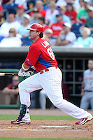 Philadelphia Phillies third baseman Jeff Larish #65 during a scrimmage vs the Florida State Seminoles  at Bright House Field in Clearwater, Florida;  February 24, 2011.  Philadelphia defeated Florida State 8-0.  Photo By Mike Janes/Four Seam Images