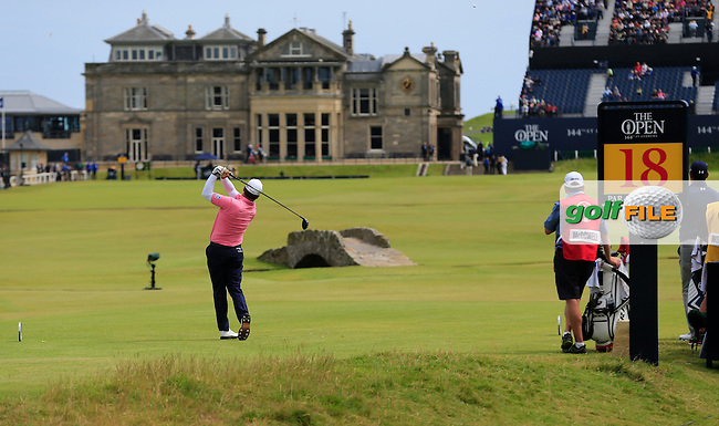 Graeme McDOWELL (NIR) tees off the 18th tee during Monday's Final Round of the 144th Open Championship, St Andrews Old Course, St Andrews, Fife, Scotland. 20/07/2015.<br /> Picture Eoin Clarke, www.golffile.ie