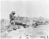3/4 fireman's-side view of D&amp;RG #240 near Chama.  Behind her is T-12 #169 and two other engines.<br /> D&amp;RG  near Chama, NM