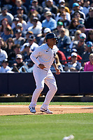 New York Yankees Gleyber Torres (25) leads off during a Spring Training game against the Toronto Blue Jays on February 22, 2020 at the George M. Steinbrenner Field in Tampa, Florida.  (Mike Janes/Four Seam Images)