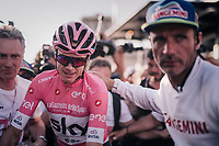 Maglia Rosa / overall leader Chris Froome (GBR/SKY) crossing the finish line in Rome as the 2018 Giro winner & mobbed by press<br /> <br /> stage 21: Roma - Roma (115km)<br /> 101th Giro d'Italia 2018
