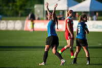 Kansas City, MO - Saturday May 27, 2017: Sydney Leroux, celebrate, celebration during a regular season National Women's Soccer League (NWSL) match between FC Kansas City and the Washington Spirit at Children's Mercy Victory Field.