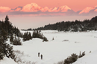 winter landscape shows alpenglow on the Chugach Mountains that jut above Turnagain Arm  and a meadow at Turnagain Pass area with cross country skiers January 2014
