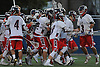 Cold Spring Harbor teammates celebrate after their 12-10 win over Pleasantville in the NYSPHSAA varsity boys lacrosse Class C state semifinals at Hofstra University on Wednesday, June 8, 2016.