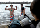 Students prepare to run into St. Joseph Lake Feb. 13, 2010 as part of the Polar Bear Plunge, a charity event to raise money for the Haiti earthquake relief...Photo by Matt Cashore/University of Notre Dame
