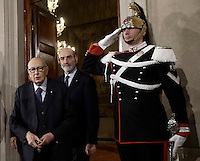 L'ex presidente della Repubblica Giorgio Napolitano lascia il Quirinale al termine delle consultazioni sulla crisi di governo, a Roma, 8 dicembre 2016.<br /> Italian former President Giorgio Napolitano leaves the Quirinale presidential palace at the end of the first day of consultations on government crisis, in Rome, 8 December 2016.<br /> UPDATE IMAGES PRESS/Isabella Bonotto