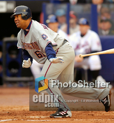 3 April 2006: Livan Hernandez, pitcher for the Washington Nationals, at bat during Opening Day play against the New York Mets at Shea Stadium, in Flushing, New York. The Mets defeated the Nationals 3-2 to lead off the 2006 MLB season...Mandatory Photo Credit: Ed Wolfstein Photo..