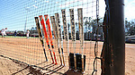 17 February 2017: Softball bats lined up outside the Notre Dame dugout. The Notre Dame Fighting Irish played the University of Minnesota Golden Gophers at Dail Softball Stadium in Raleigh, North Carolina as part of the ACC/Big 10 College Softball Challenge. Minnesota won the game 4-1