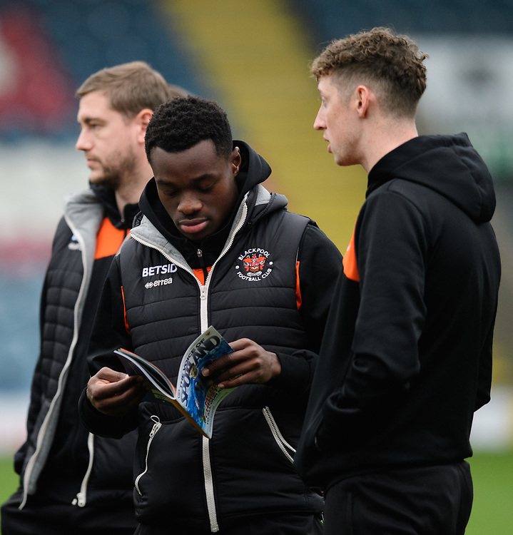 Blackpool's Marc Bola, left, and Blackpool's Joe Bunney prior to the game<br /> <br /> Photographer Chris Vaughan/CameraSport<br /> <br /> The EFL Sky Bet League One - Rochdale v Blackpool - Wednesday 26th December 2018 - Spotland Stadium - Rochdale<br /> <br /> World Copyright © 2018 CameraSport. All rights reserved. 43 Linden Ave. Countesthorpe. Leicester. England. LE8 5PG - Tel: +44 (0) 116 277 4147 - admin@camerasport.com - www.camerasport.com