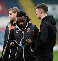 Blackpool's Marc Bola, left, and Blackpool's Joe Bunney prior to the game<br /> <br /> Photographer Chris Vaughan/CameraSport<br /> <br /> The EFL Sky Bet League One - Rochdale v Blackpool - Wednesday 26th December 2018 - Spotland Stadium - Rochdale<br /> <br /> World Copyright &copy; 2018 CameraSport. All rights reserved. 43 Linden Ave. Countesthorpe. Leicester. England. LE8 5PG - Tel: +44 (0) 116 277 4147 - admin@camerasport.com - www.camerasport.com