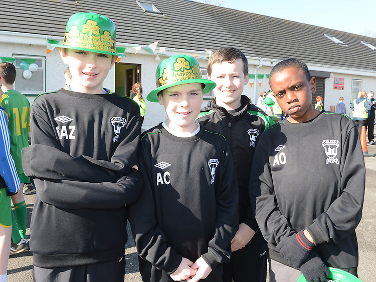 Daragh Barnes, Aaron Cassin, Cormac Canning and Abdul Okunola who took part in the Inaugural Duleek schoolboy/girl soccer club 5k Run/Walk. Photo:Colin Bell/pressphotos.ie