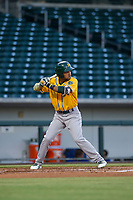AZL Athletics third baseman Yerdel Vargas (5) bats during a game against the AZL Cubs on August 9, 2017 at Sloan Park in Mesa, Arizona. AZL Athletics defeated the AZL Cubs 7-2. (Zachary Lucy/Four Seam Images)