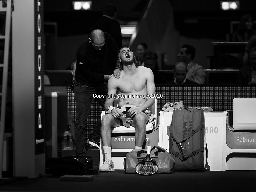 Rotterdam, The Netherlands, 11 Februari 2020, ABNAMRO World Tennis Tournament, Ahoy, <br /> Stefanos Tsitsipas (GRE) suffers injury.<br /> Photo: www.tennisimages.com