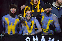 Morgantown, WV - NOV 19, 2016: West Virginia fans are pumped up before the game between West Virginia and Oklahoma at Mountaineer Field at Milan Puskar Stadium Morgantown, West Virginia. (Photo by Phil Peters/Media Images International)