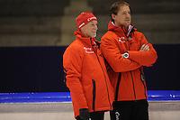 SCHAATSEN: HEERENVEEN: IJsstadion Thialf, 31-10-2012, Perspresentatie Team Corendon, Frits Wouda (trainer), Peter Kolder (trainer/coach), ©foto Martin de Jong