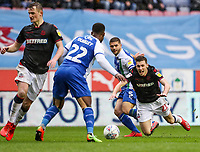 Bolton Wanderers' Joe Williams is fouled by Wigan Athletic's Sam Morsy <br /> <br /> Photographer Andrew Kearns/CameraSport<br /> <br /> The EFL Sky Bet Championship - Wigan Athletic v Bolton Wanderers - Saturday 16th March 2019 - DW Stadium - Wigan<br /> <br /> World Copyright &copy; 2019 CameraSport. All rights reserved. 43 Linden Ave. Countesthorpe. Leicester. England. LE8 5PG - Tel: +44 (0) 116 277 4147 - admin@camerasport.com - www.camerasport.com