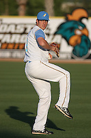 Myrtle Beach Pelicans pitcher Chad Bell #19 throwing before a game against the Potomac Nationals at Tickerreturn.com Field at Pelicans Ballpark on April 11, 2012 in Myrtle Beach, South Carolina. Potomac defeated Myrtle Beach by the score of 6-3. (Robert Gurganus/Four Seam Images)