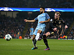 Gary Mackay-Steven of Celtic fires in a shot past Gael Clichy of Manchester City during the Champions League Group C match at the Etihad Stadium, Manchester. Picture date: December 6th, 2016. Pic Simon Bellis/Sportimage