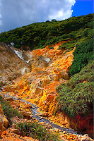 Colorful cliffs, La Soufriere Volcano, St. Lucia, Caribbean Sea, Lesser Antilles, Frequently active volcanic zone