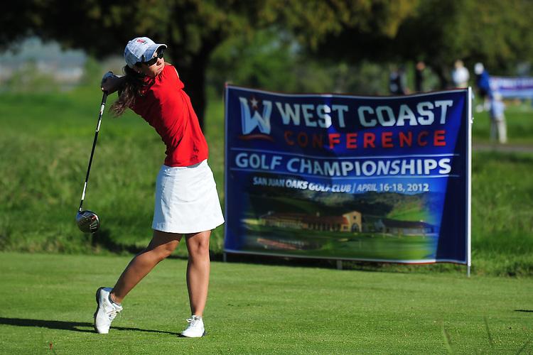 April 17, 2012; Hollister, CA, USA; Seattle Redhawks golfer Christine Cook during the WCC Golf Championships at San Juan Oaks Golf Club.