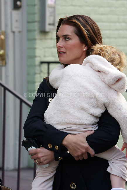 WWW.ACEPIXS.COM ** ** ** ....October 6 2008, New York City....Actress Brooke Shields arrives on the set of the TV show 'Lipstick Jungle' with her daughter Grier Hammond Henchy on October 6 2008 in New York City....Please byline: STAN ROSE -- ACEPIXS.COM.. *** ***  ..Ace Pictures, Inc:  ..tel: (646) 769 0430..e-mail: info@acepixs.com..web: http://www.acepixs.com