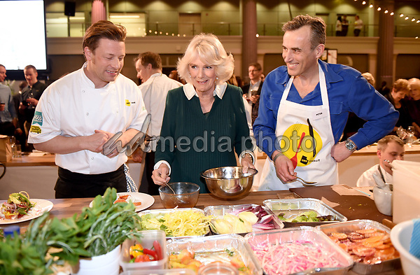 21 March 2017 - London, England - Camilla Duchess of Cornwall at UK CEO Cook Off in Support of UK Harvest and the Jamie Oliver Food Foundation at Old Billingsgate in London. Business leaders taking part will line up in the kitchen alongside Jamie Oliver and a host of other well-known chefs including. Each team will prepare part of a three-course banquet under the guidance of the professional chefs, before serving up the meal to 600 people who work in schools and hospitals across the UK.The Duchess of Cornwall, Patron, UK Harvest, will attend the UK CEO Cook Off in support of UK Harvest and the Jamie Oliver Food Foundation, and will meet some of the chefs and CEOs taking part, Old Billingsgate, 1 Old Billingsgate Walk, London. Photo Credit: Alpha Press/AdMedia