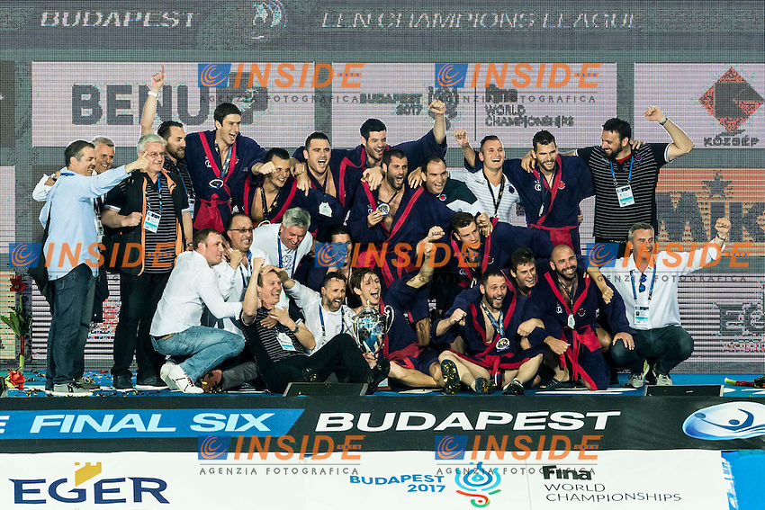 JUG Dubrovnik CRO Gold Medal Celebration <br /> Prizes Ceremony<br /> Budapest, Alfred Hajos National Swimming Complex<br /> LEN 2016 Water Polo Champions League Final Six<br /> Budapest HUN June 2 - 5, 2016<br /> Day 03 June 4, 2016<br /> Photo Giorgio Scala/Deepbluemedia/Insidefoto