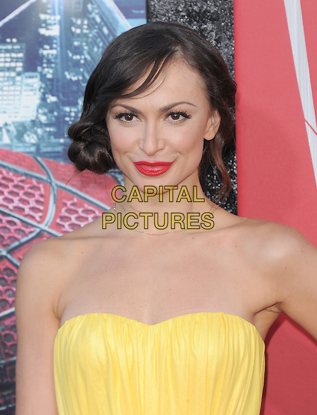 Karina Smirnoff.'The Amazing Spider-Man' Premiere held at Regency Village Theater in Westwood, California, USA. .June 28th, 2012.headshot portrait yellow strapless red lipstick  .CAP/RKE/DVS.©DVS/RockinExposures/Capital Pictures.