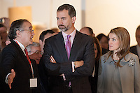 Princess Letizia Ortiz and Felipe de Borbon in the Opening of ARCO Art Fair in Madrid attends explanations